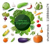 big vegetable icon set. onion ... | Shutterstock .eps vector #1188866674