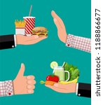 hands with fast food and... | Shutterstock .eps vector #1188866677
