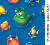 vector texture funny fish.... | Shutterstock .eps vector #1188873754