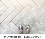 top view of selfie feet on...   Shutterstock . vector #1188884974