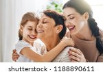a nice girl  her mother and... | Shutterstock . vector #1188890611