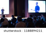 tech presenter on stage giving... | Shutterstock . vector #1188894211