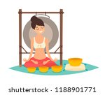 meditation  young woman making... | Shutterstock .eps vector #1188901771