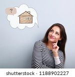 happy thinking casual woman in... | Shutterstock . vector #1188902227