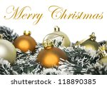 Christmas ornaments with wreath isolated on white - stock photo