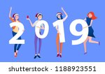 blue new year 2019 poster with... | Shutterstock .eps vector #1188923551
