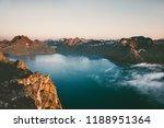 sunset mountains over sea... | Shutterstock . vector #1188951364