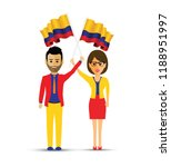 colombia flag waving man and... | Shutterstock .eps vector #1188951997
