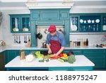 chef cooking vegetarian recipe. ... | Shutterstock . vector #1188975247