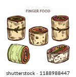 finger food  rolls with salmon  ... | Shutterstock .eps vector #1188988447