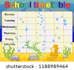 school timetable with marine... | Shutterstock .eps vector #1188989464