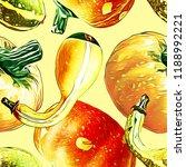 pumpkins seamless pattern. hand ... | Shutterstock . vector #1188992221
