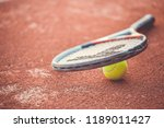 close up of tennis racket with... | Shutterstock . vector #1189011427