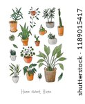postcard with set of lovely... | Shutterstock . vector #1189015417