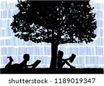 silhouettes of people with a... | Shutterstock .eps vector #1189019347
