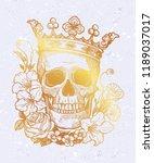 beautiful romantic skull with... | Shutterstock .eps vector #1189037017