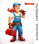 worker. repairman  cheerful... | Shutterstock .eps vector #1189046701