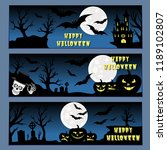 halloween banners leaflets blue ... | Shutterstock .eps vector #1189102807