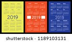 calendar 2019. colorful set.... | Shutterstock .eps vector #1189103131