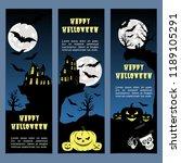 halloween banners leaflets blue ... | Shutterstock .eps vector #1189105291