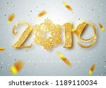 2019 happy new year. gold... | Shutterstock .eps vector #1189110034
