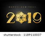 2019 happy new year. vector... | Shutterstock .eps vector #1189110037