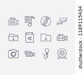 outline 12 record icon set. cd  ... | Shutterstock .eps vector #1189115434