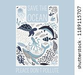 save the ocean please dont't... | Shutterstock .eps vector #1189115707