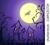 halloween dark blue background... | Shutterstock .eps vector #1189131724