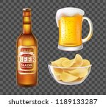 beer in bottle or mug with foam ...   Shutterstock .eps vector #1189133287