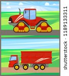 tractor and grain truck set... | Shutterstock .eps vector #1189133311