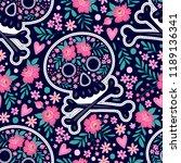 skull and flowers. seamless... | Shutterstock .eps vector #1189136341