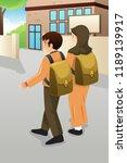 a vector illustration of boy...   Shutterstock .eps vector #1189139917