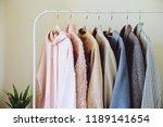 hanger stand with autumn warm... | Shutterstock . vector #1189141654