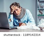 bad feeling. sick worker has... | Shutterstock . vector #1189142314