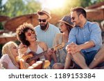 group of friends with guitar... | Shutterstock . vector #1189153384