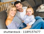 young family with baby daughter ... | Shutterstock . vector #1189157677