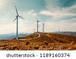wind turbines on beautiful... | Shutterstock . vector #1189160374