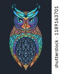 owl with tribal ornament. hand... | Shutterstock .eps vector #1189163701