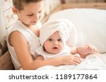 beautiful young boy and her... | Shutterstock . vector #1189177864