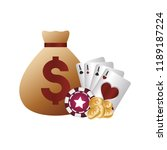 casino poker money bag suits... | Shutterstock .eps vector #1189187224