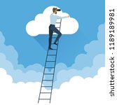 ladders to clouds vector... | Shutterstock .eps vector #1189189981