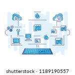 cloud computing network with... | Shutterstock .eps vector #1189190557