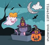 halloween cat and ghost | Shutterstock .eps vector #1189194511