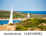 a sailboat is sailing on a...   Shutterstock . vector #1189198981