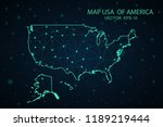 map united states. wire frame... | Shutterstock .eps vector #1189219444