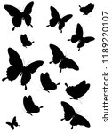 Stock vector black butterfly isolated on a white 1189220107