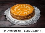 cream cake with tangerines on... | Shutterstock . vector #1189233844