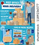 post office delivery service ... | Shutterstock .eps vector #1189236577