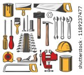 construction tools set  vector... | Shutterstock .eps vector #1189237477